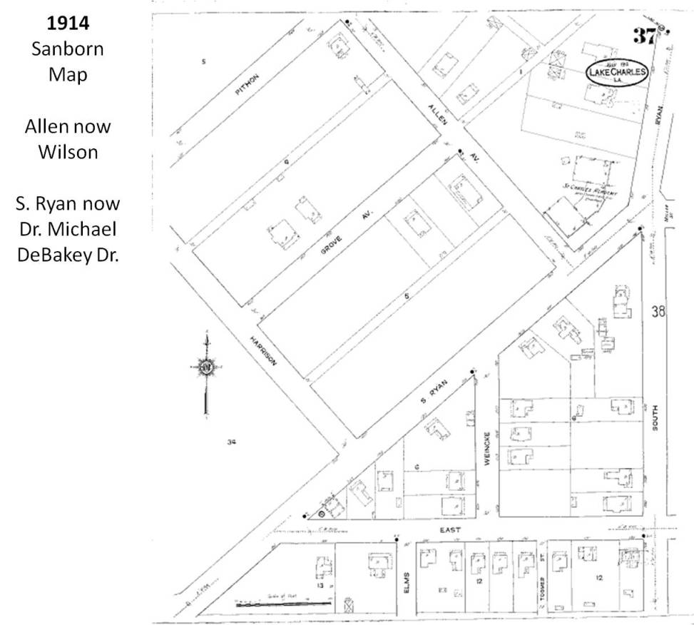 1914 Sanborn Map Courtesy of McNeese State University Archive Department